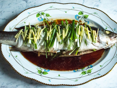 Cantonese style sea bass with ginger and spring onions