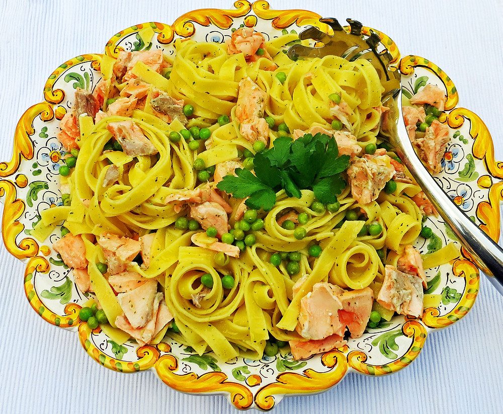 Salmon and pea tagliatelle with lemon, garlic, tarragon & parsley butter