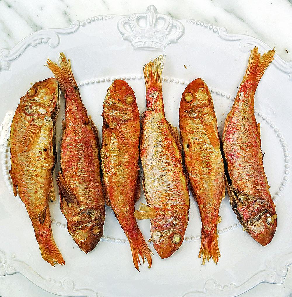 Pan fried red mullet