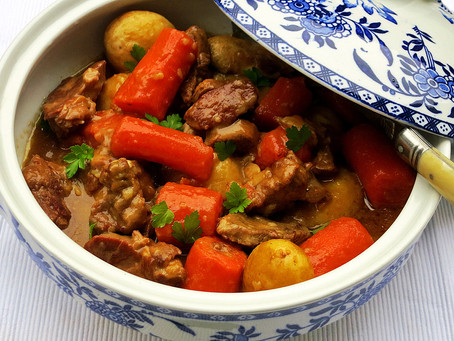 New season lamb stew with carrots and new potatoes