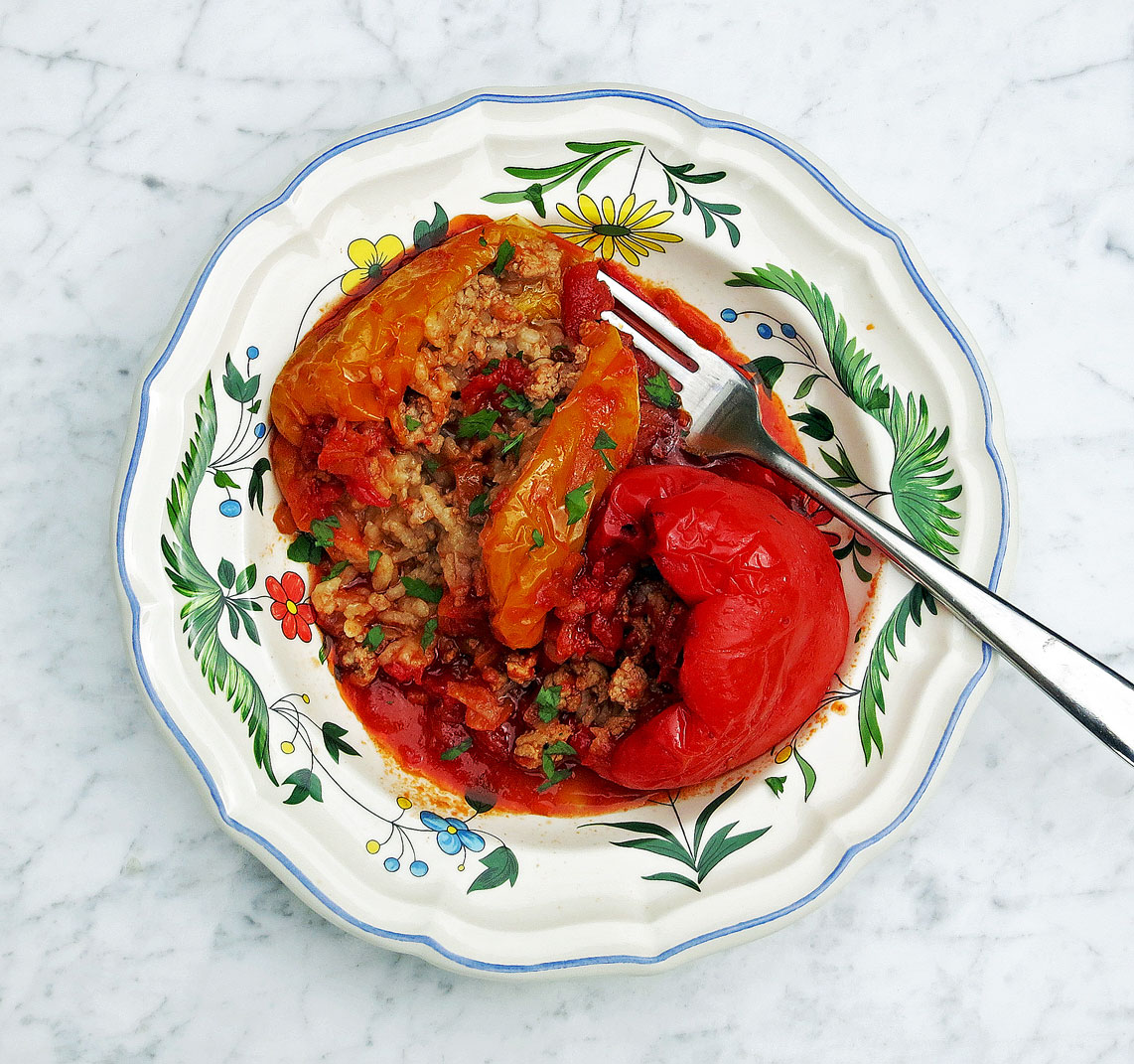 Peppers stuffed with veal, pork and