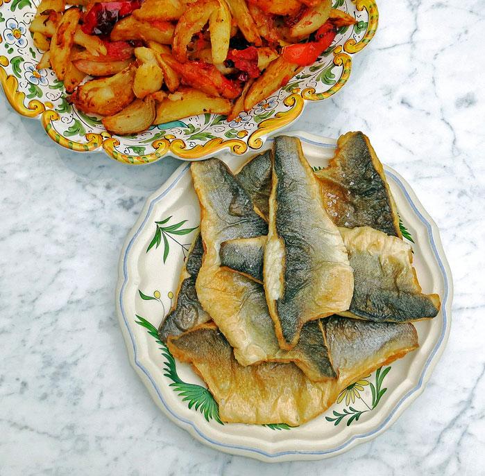 Pan fried sea bass fillets
