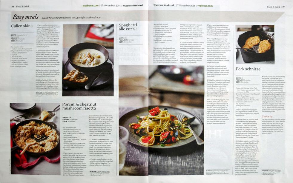 Waitrose Weekend magazine Nov 2014