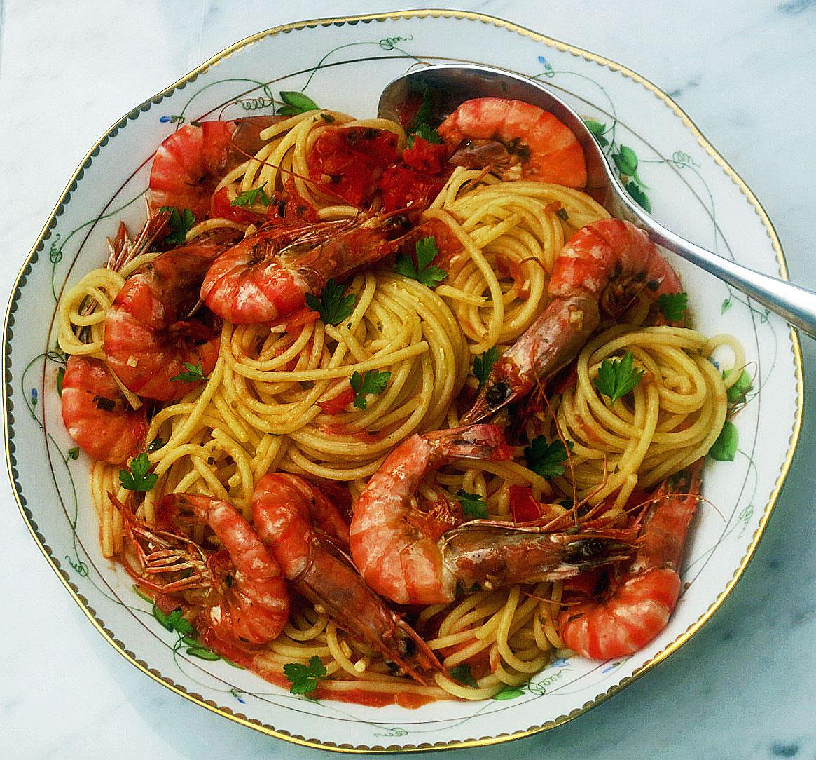 Spaghetti agli scampi (prawns)