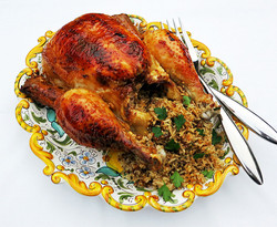 Roast chicken with a fragrant rice