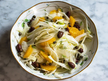 Fennel, orange, black olive and caper salad