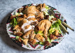 Roast chicken salad with bread, tarragon and spring onions