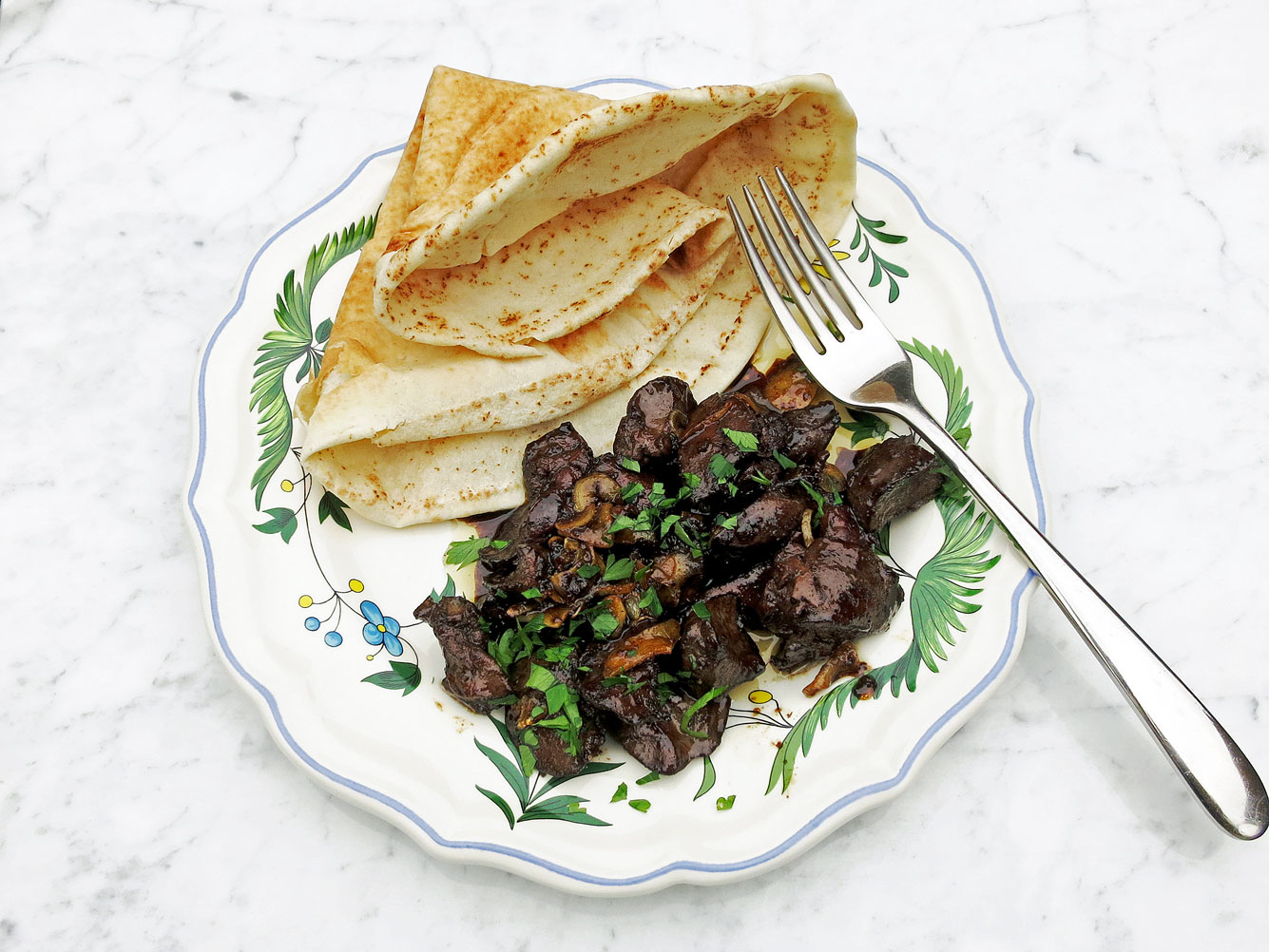Seared organic chicken livers with pomegranate molasses