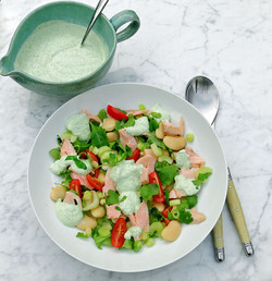 Smoked trout, butter bean, spring onion and tomato salad with a yoghurt, horseradish and wild rocket