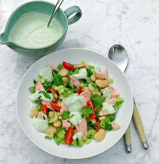 Smoked trout, butter bean, spring onion and tomato salad with a yoghurt, horseradish and wild rocket dressing