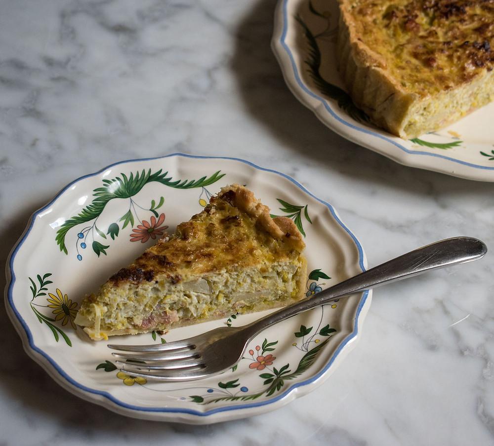 Flan de poireaux et lardons (leek and bacon tart)