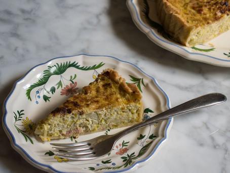 Leek and bacon tart (Flan de poireaux et lardons)