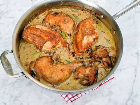 Pan seared chicken with chestnut mushrooms, tarragon, white wine and cream