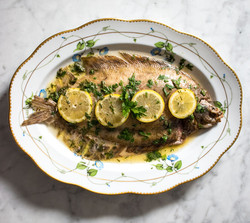Lemon sole baked with butter, white wine