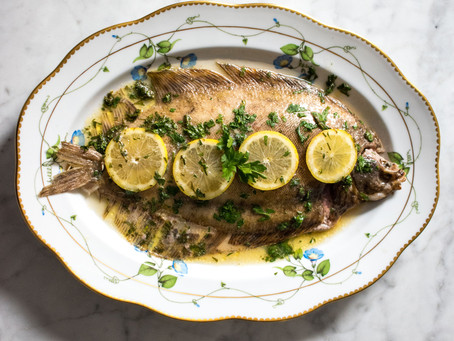 Lemon sole baked with butter, white wine, lemon and parsley