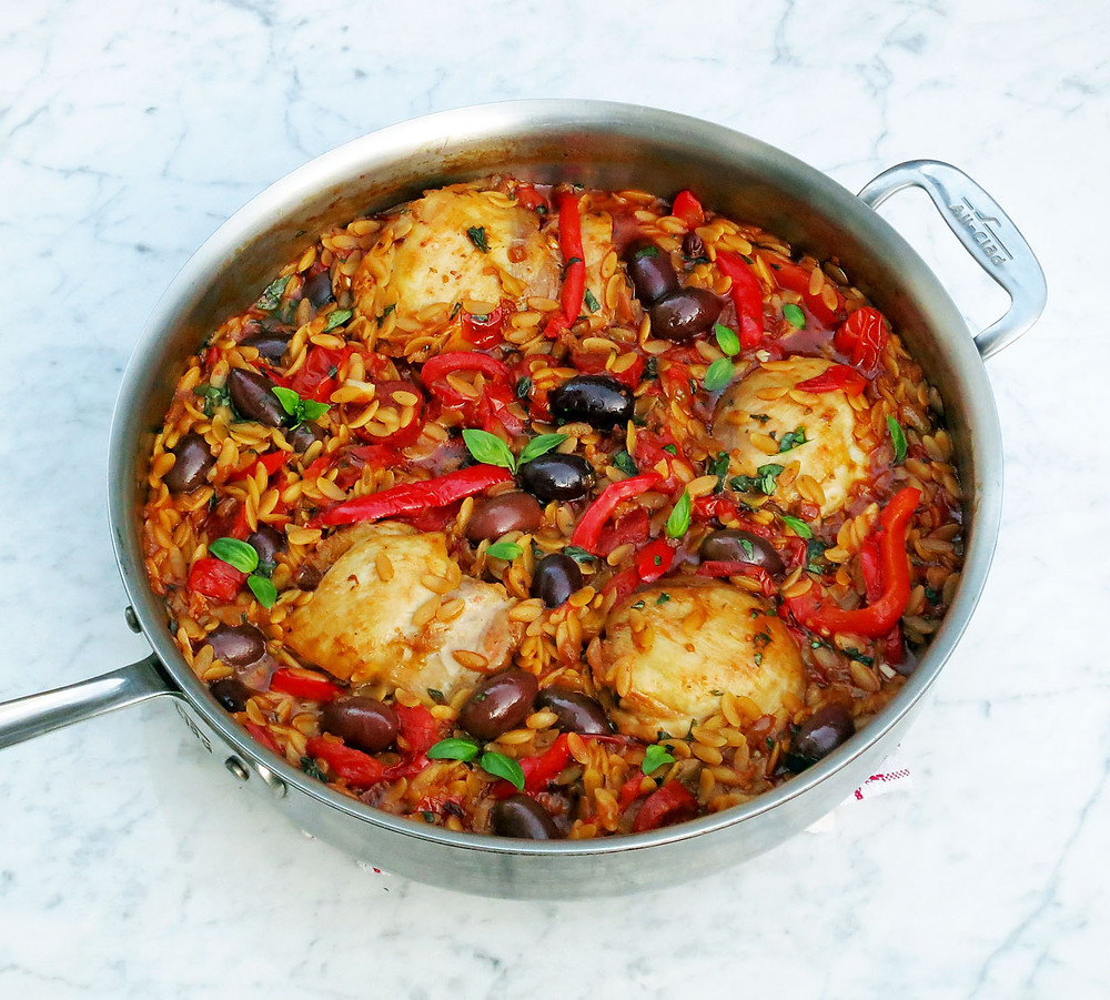 Orzo pasta, chicken, tomatoes, olives and peppers