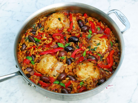 Orzo pasta, chicken, chorizo, tomatoes, olives and peppers