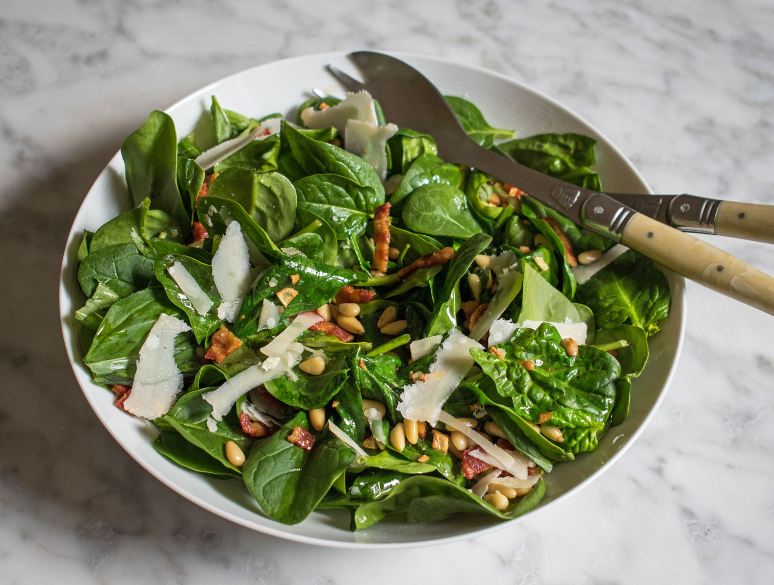 Spinach, bacon, pine nut warm salad