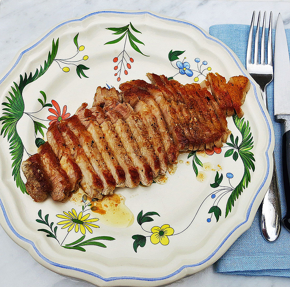 Pan fried pork steaks