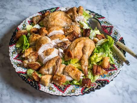 Roast chicken salad with crisp bread, tarragon and spring onions