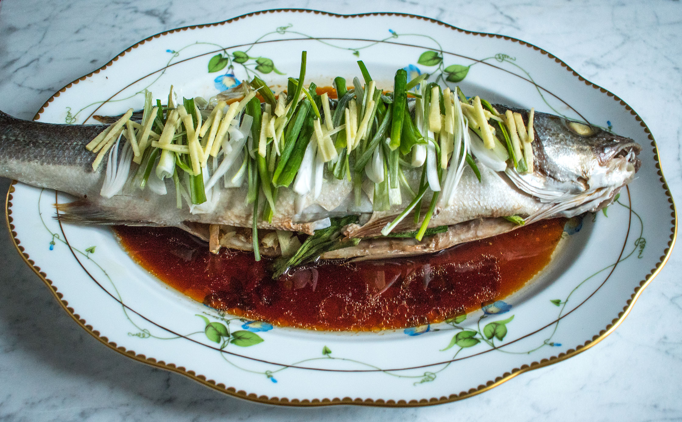 Cantonese style sea bass with ginger and