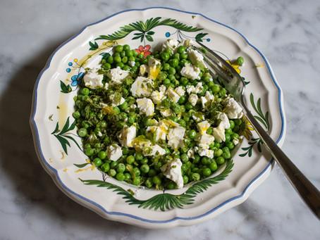 Peas with feta, mint and lemon zest