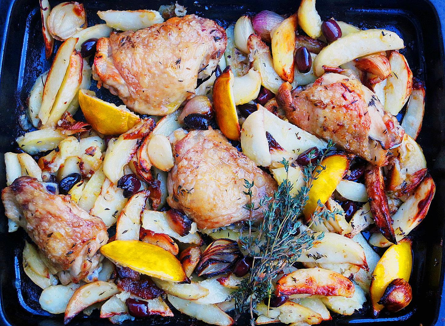 Roast chicken, lemon, potatoes, olives, shallots, garlic & thyme