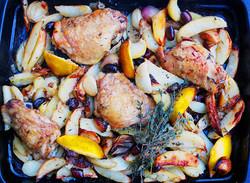 Roast chicken, lemon, potatoes, oliv