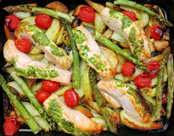 Roast Salmon fillets, asparagus, potatoes, garlic and rosemary with a tarragon parsley butter