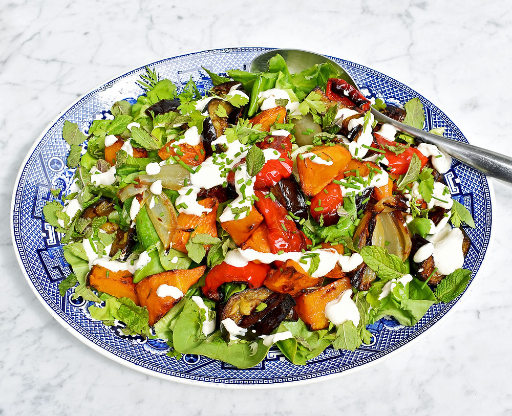 Roast vegetable warm salad with a yoghurt tahini dressing