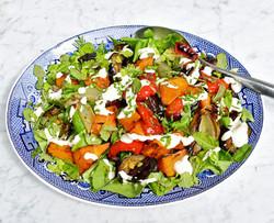 Roast vegetable warm salad with a yoghurt tahini dressing