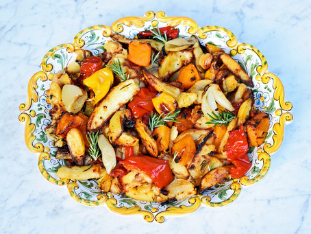 Roast potatoes, squash, peppers, tomatoes, onions and garlic
