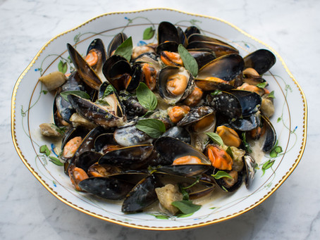Thai green curry mussels and aubergine