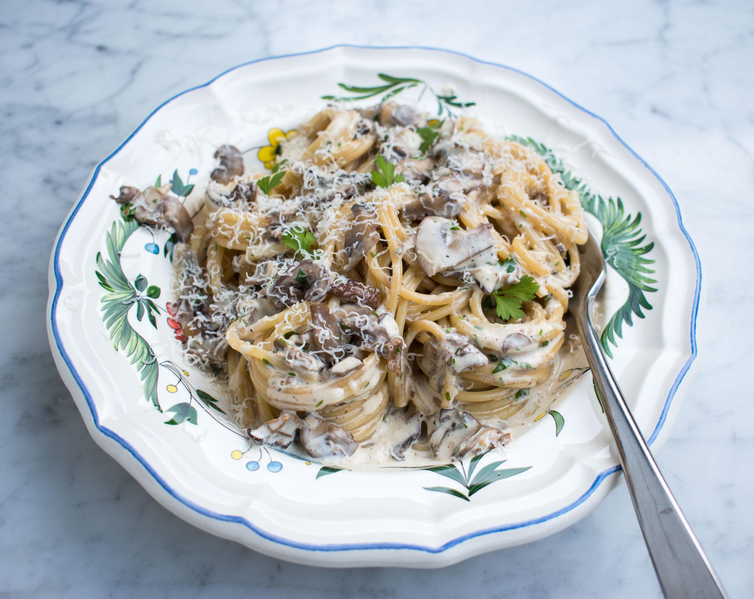 Porcini mushroom and cream pasta