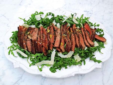 Beef tagliata with rocket and parmesan (Tagliata di manzo)