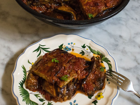 Slow baked aubergines in a rich tomato sauce
