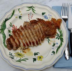 Pan fried rib eye pork steak