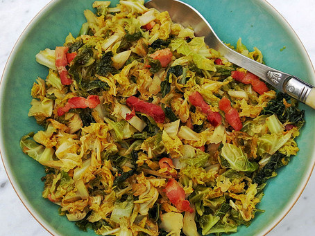 Savoy cabbage with smoked bacon