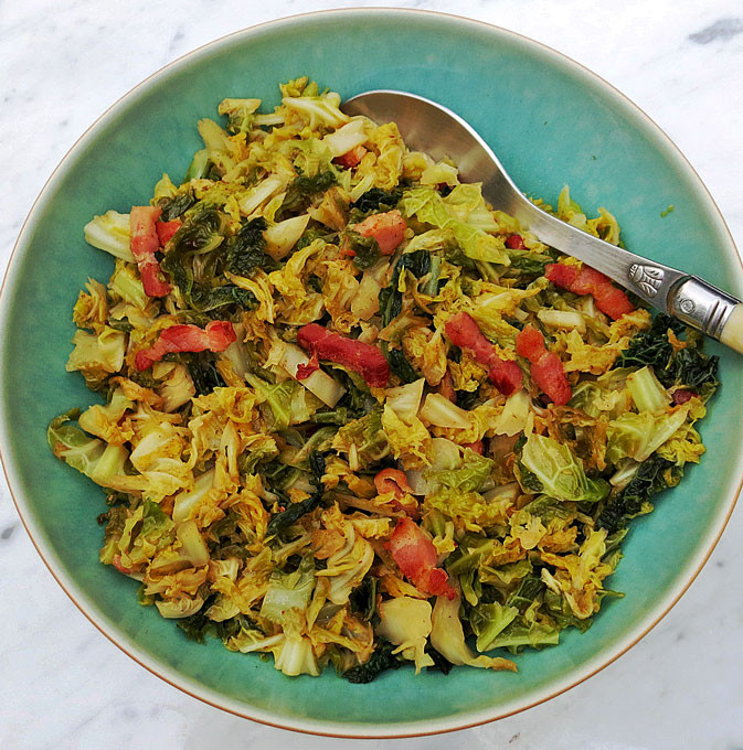 Savoy cabbage and smoked bacon