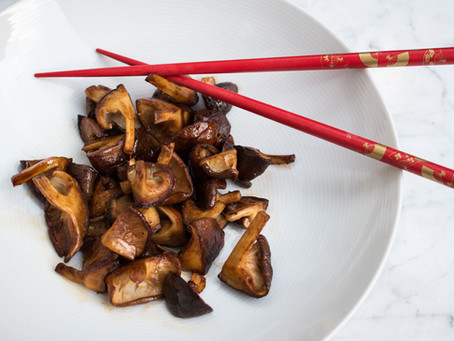Shiitake mushrooms with soy sauce and butter