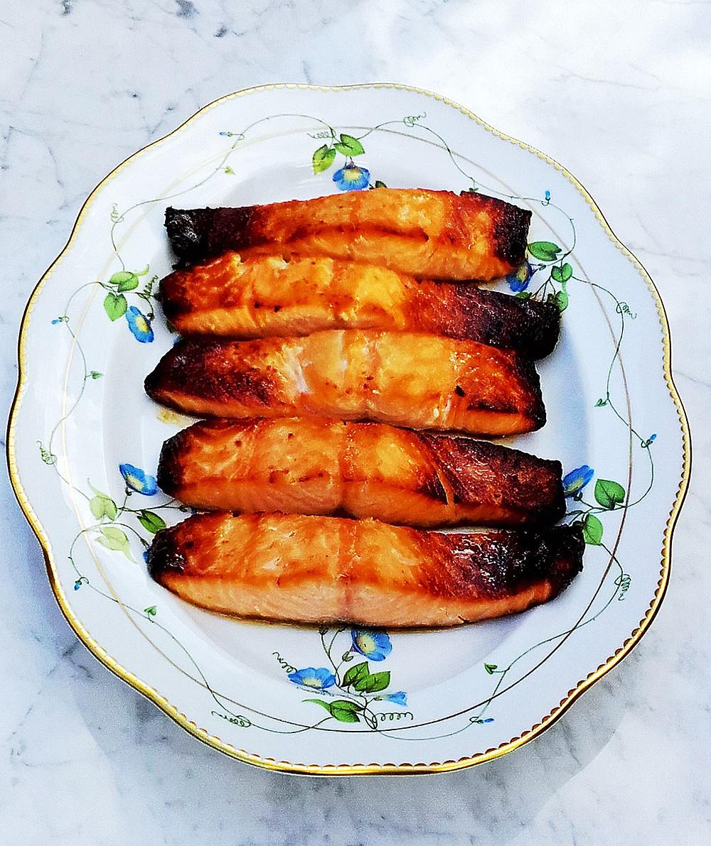 Miso blackened, caramelised salmon