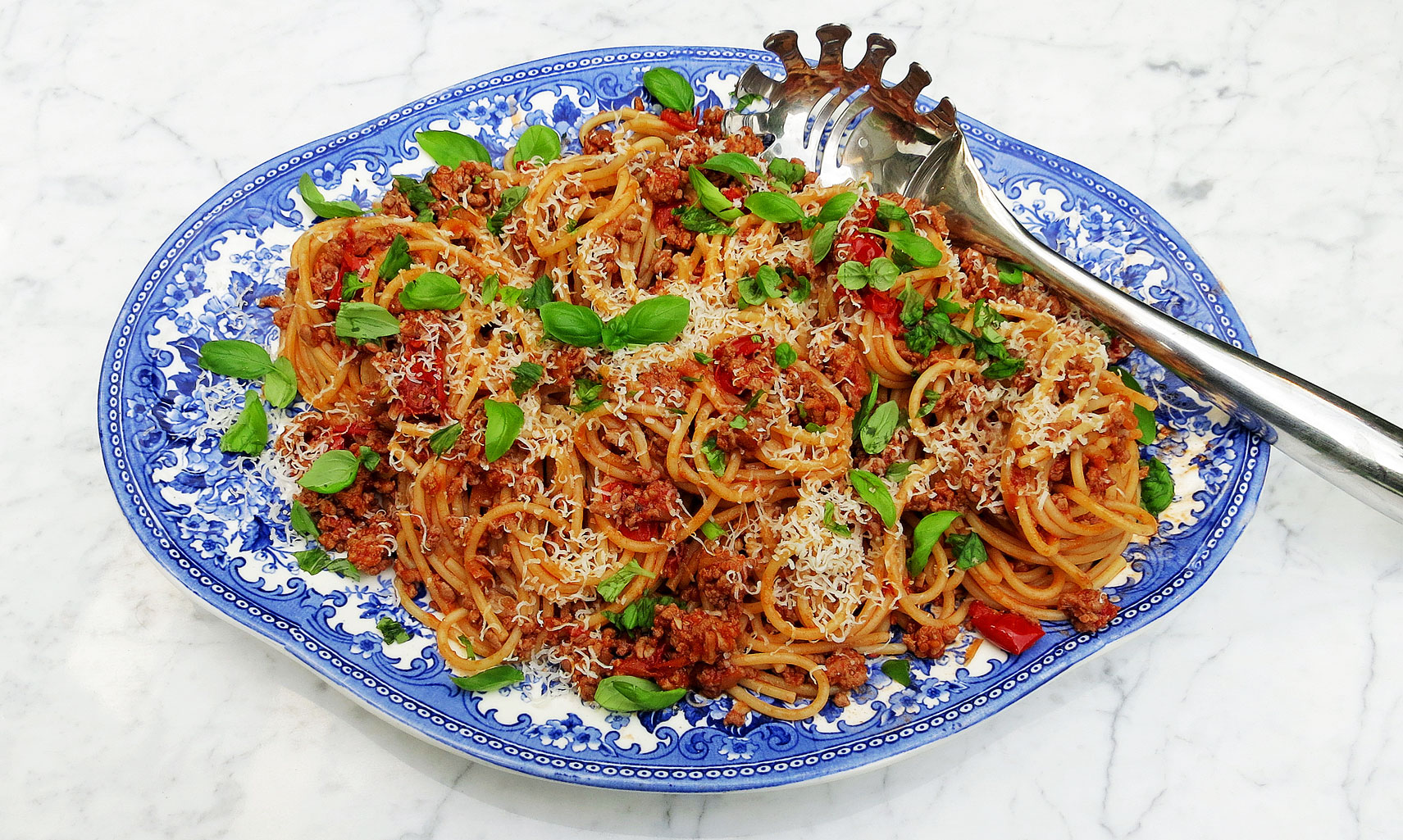 Pork ragu with spaghetti