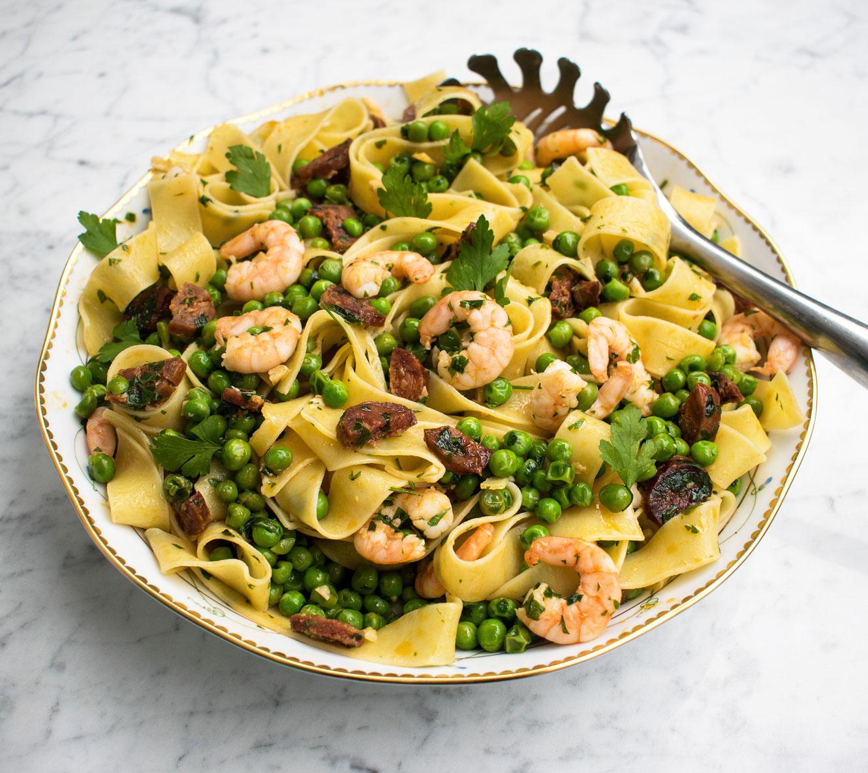 Prawn, chorizo and pea pasta