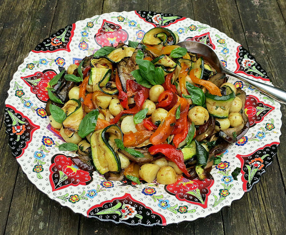 Grilled peppers, courgettes and aubergines with new potatoes, garlic, olive oil & basil