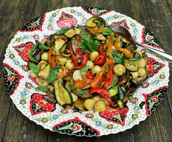 Peppers, courgettes and aubergines