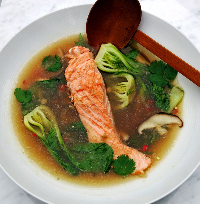 Thai style salmon broth