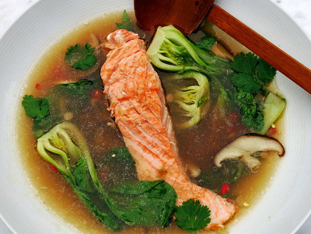 Thai style salmon broth