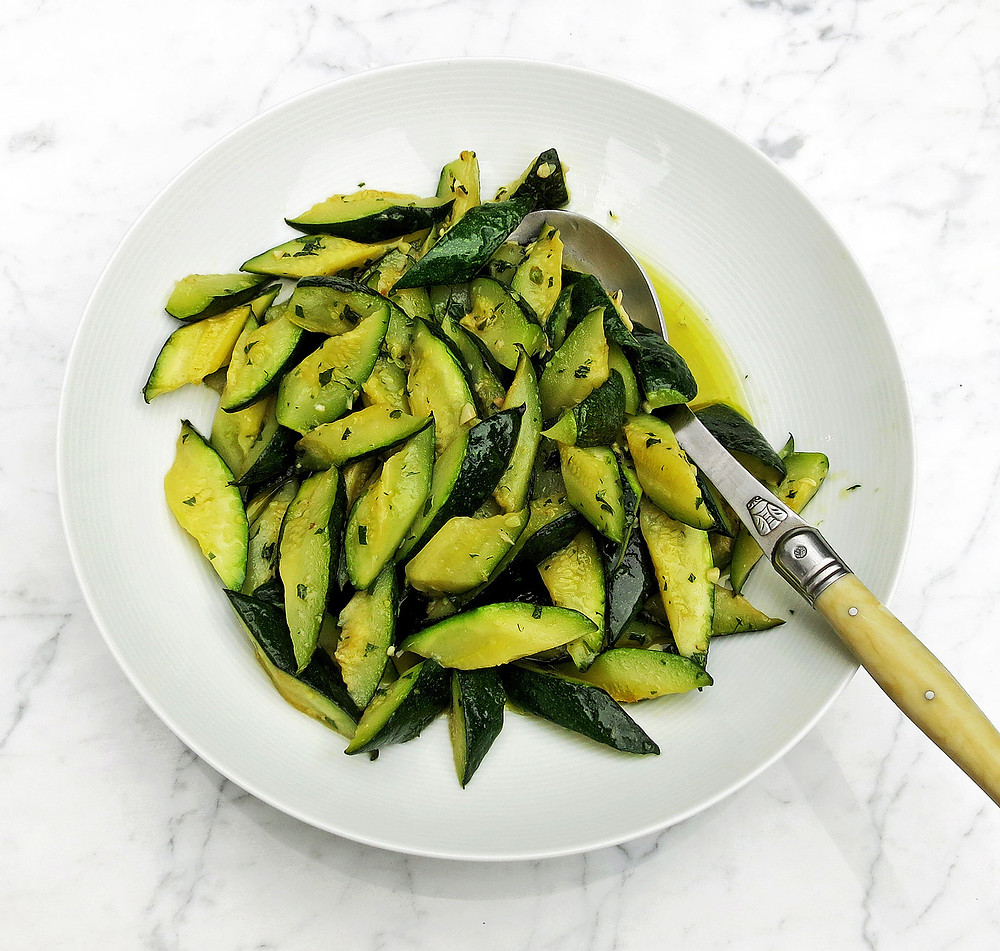 Pan fried courgettes with garlic and mint