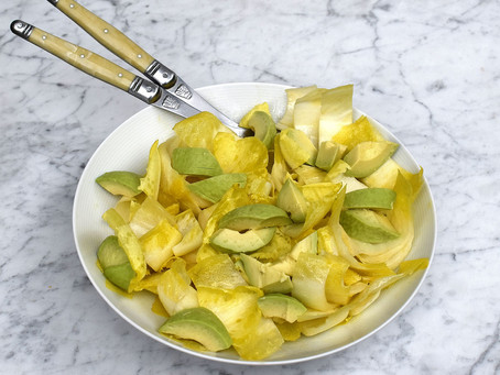 Endive (chicory) & avocado salad with a French dressing