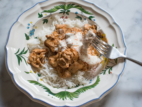 Pork Stroganoff with sour cream and paprika